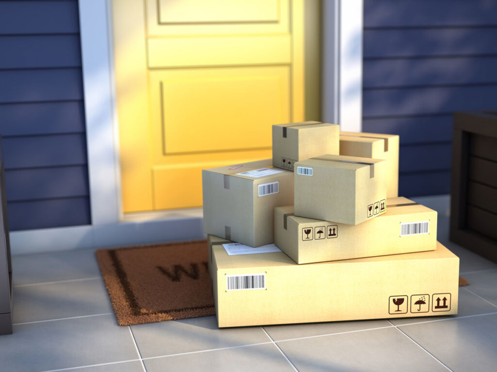 Packages on home porch